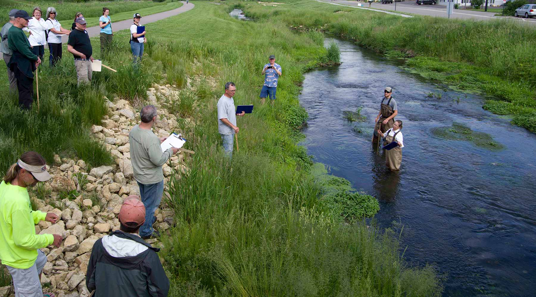 SWTU members at Black Earth Creek learning about improvements